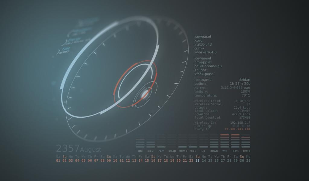 Debian Xfce Conky by kralis-dm | Linux
