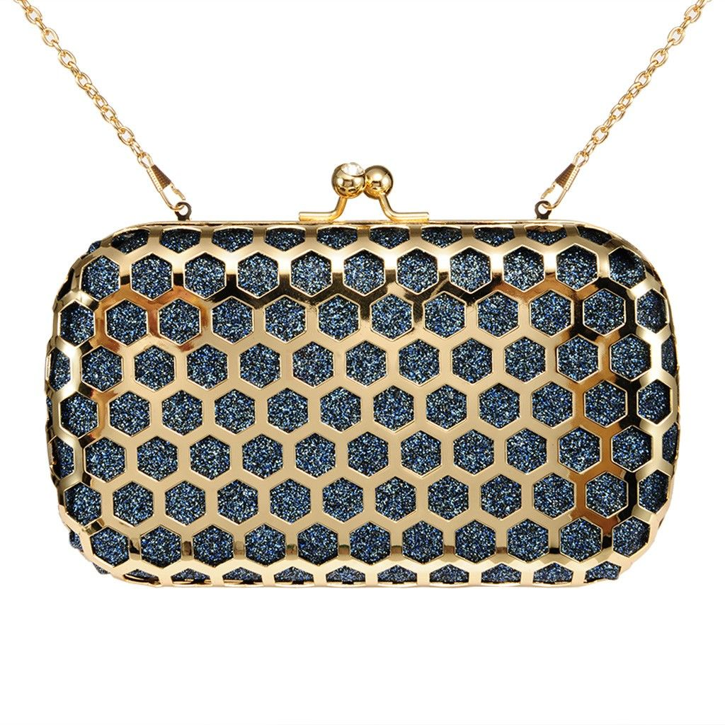 Zapals Designer Box Clutch Honeycomb Metallic Hollow-out Hard Case - Turquoise. ZAPALS designer box clutch. Honeycomb hollow-out in shimmer design. Noble, trendy yet elegant. Detachable shoulder chain. Chic rhinestone clasp closure. Cross-body bag/ box clutch. Perfect for both special and casual occasions! Such as party, wedding.