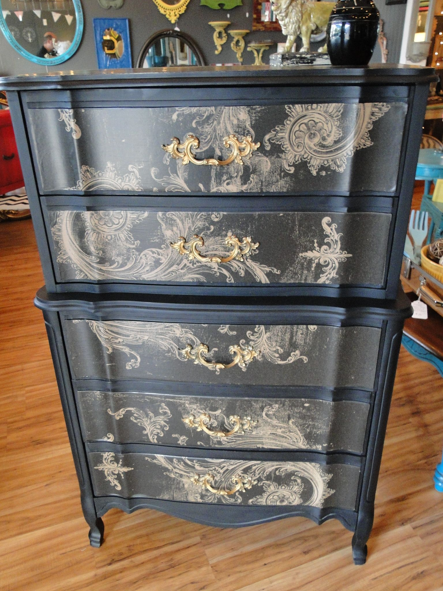 Best Black And Gold French Provincial High Boy Dresser At 640 x 480