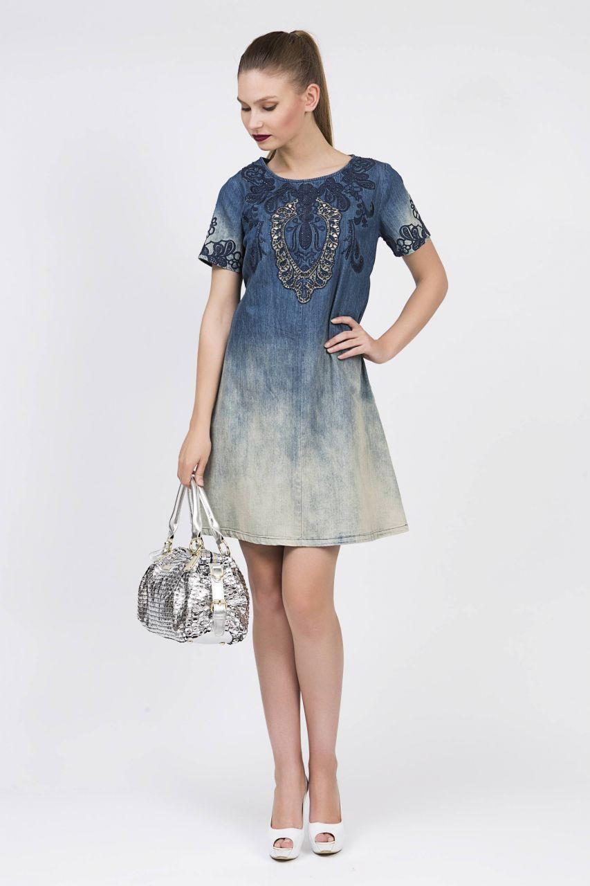 Serpil Exclusive Kadin Giyim Markasi Online Alisveris Sitesi Isleme Detayli Mavi Elbise Kadin Giyim Giyim Kiyafet