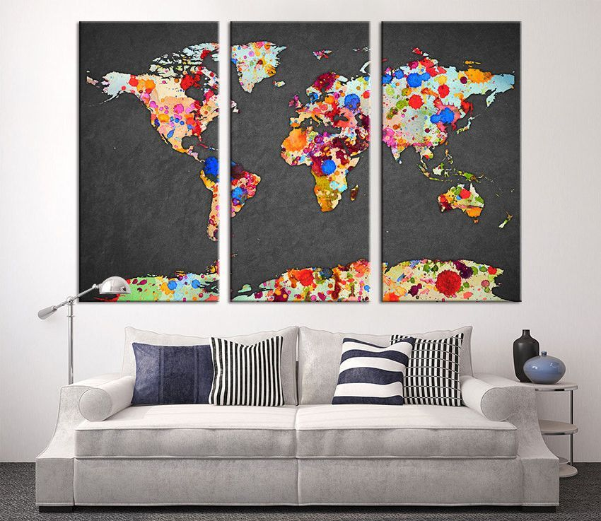 Wall art canvas print watercolor with paint drops world map art wall art canvas print watercolor with paint drops world map art watercolor 3 panel gumiabroncs Images