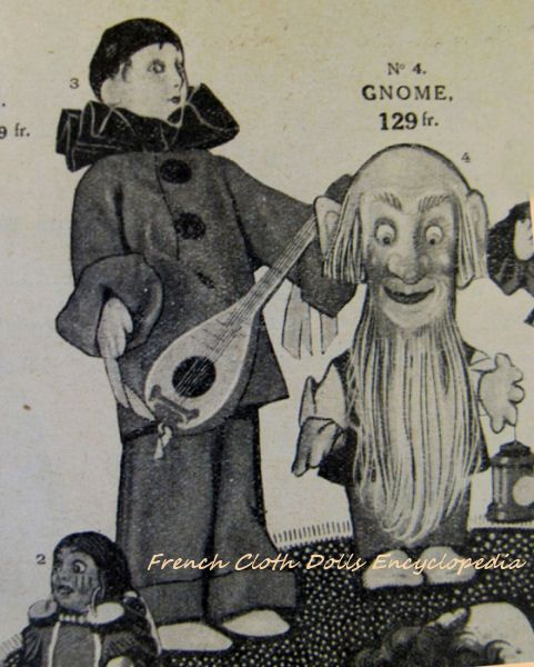 Lenci Pierrot and gnome, from 1920 Printemps catalogue.