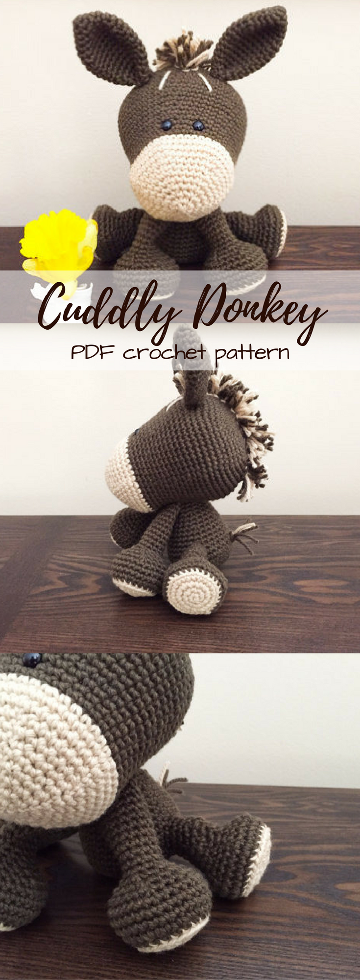 Cute little cuddly donkey crochet pattern to make. Love this humble ...