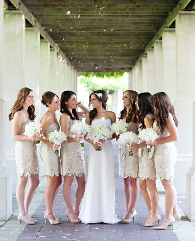 A Glam 1920s Inspired Wedding With Feather Accents By Amanda Donaho Photography Champagne Bridesmaid Dresses Bridesmaid Lace Bridesmaid Dresses