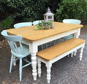 5Ft Pine Farmhouse Table Chairs And Bench Handmade Farrow & Ball Extraordinary Handmade Dining Room Chairs Inspiration