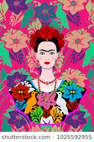 Frida Kahlo Vector Portrait Young Beautiful Mexican Woman With A Traditional Hairstyle Mexican Crafts Kahlo Paintings Vector Portrait Frida Kahlo Portraits