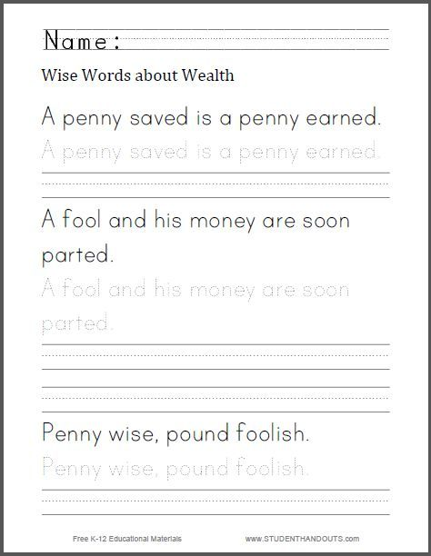 Wise Words About Wealth Writing Worksheet Free To Print Pdf File