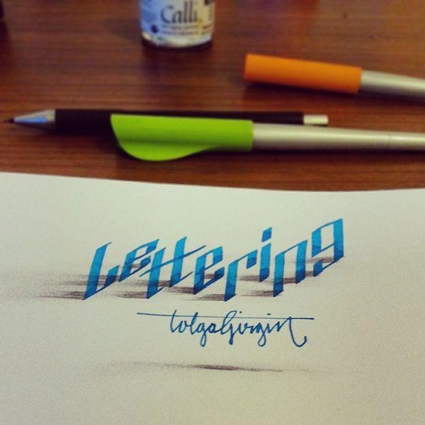 """Lettering"" - 3-D letter art by Tolga Girgin, via Behance (from '3-D Lettering with Parallelpen & Pencil - Part 2')"