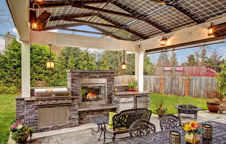 Steele Outdoor Kitchen With 40 5 Burner Gas Grill Fireplace Wrought Iron Furniture Solar Panel Roof And Ceil Outdoor Outdoor Kitchen Outdoor Kitchen Plans