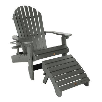 Longshore Tides Deerpark Plastic Folding And Reclining Adirondack Chair With Ottoman And Cupholder Colour Coastal Teak Chair Ottoman Contemporary Adirondack Chairs Wood Adirondack Chairs