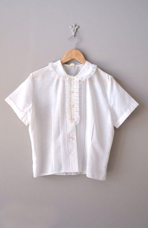 vintage white blouse french 1950 boho chic