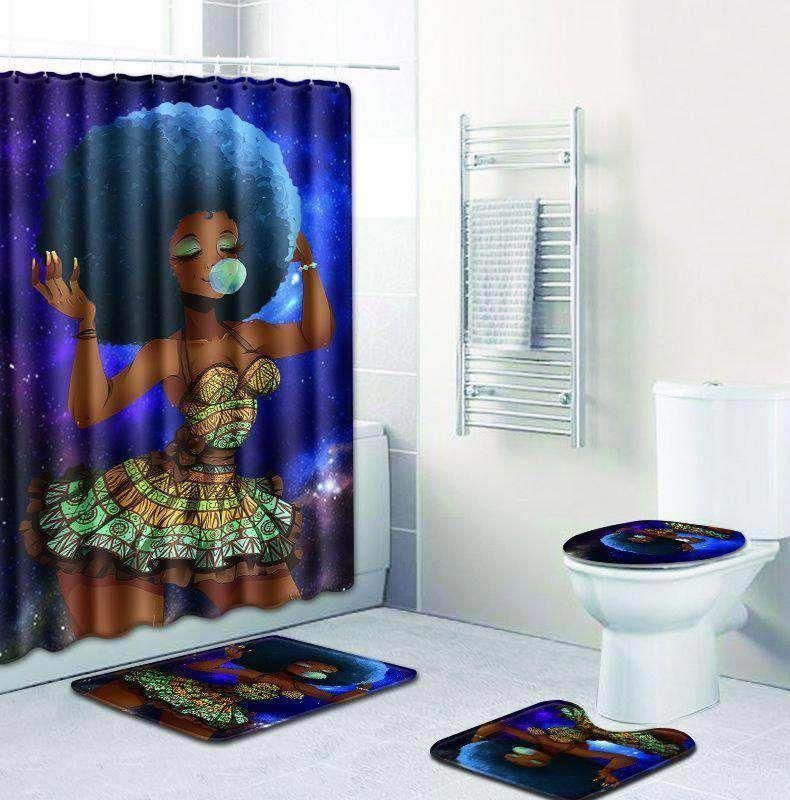 Popping Gum Curly Hair Afro Girl Shower Curtain with 3 Pcs Bathroom To – TYChome bathroom ideas,b