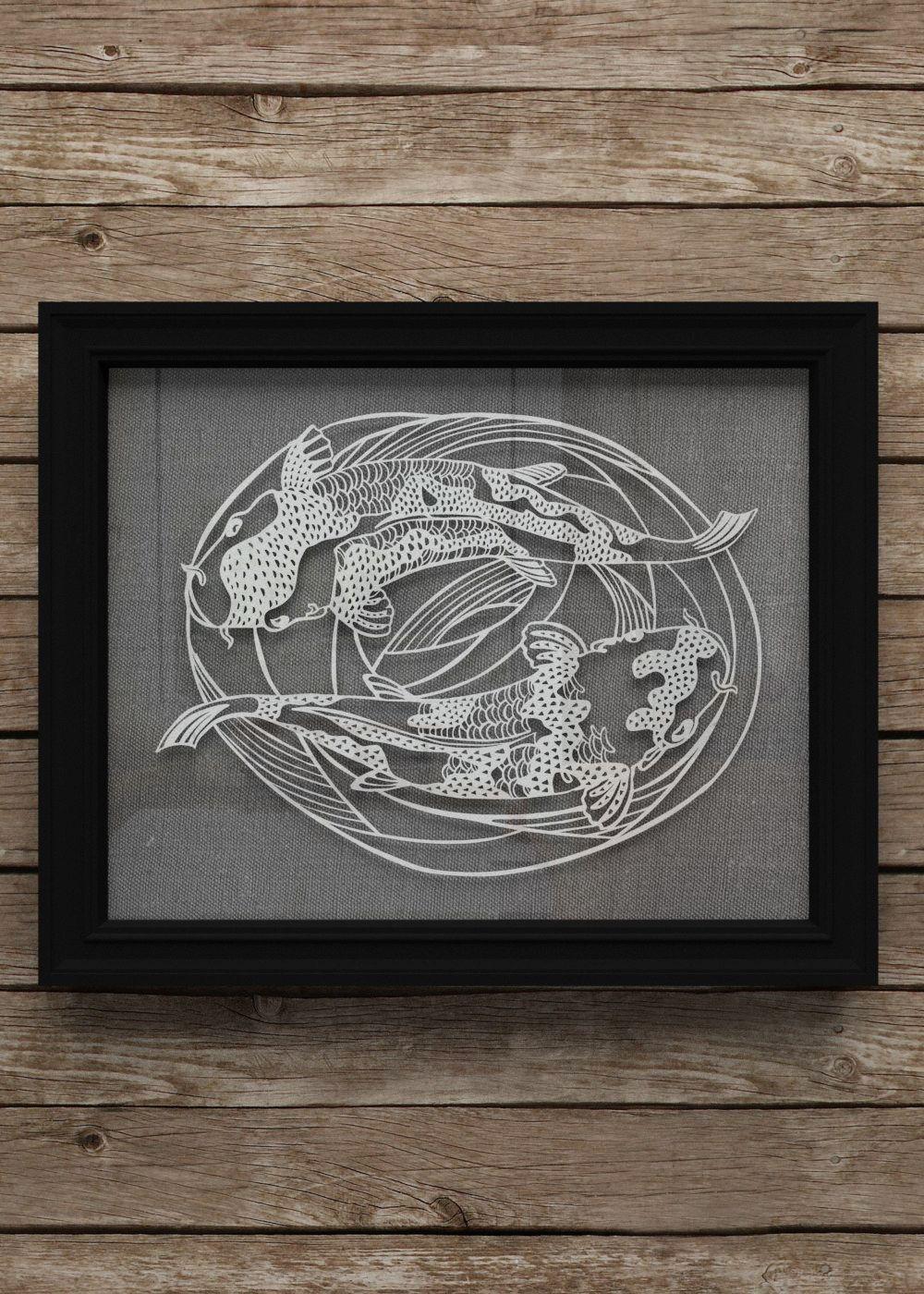 Koi fish papercut art decor - Japanese style swimming koi//carp papercutting original wall art for home decor, unique gift