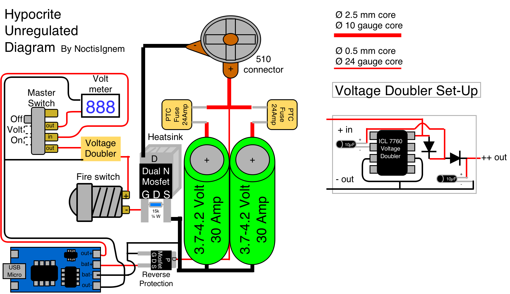 "Finally finished my ""Hypocrite Unregulated Diagram"" : OpenPV Circuits,  Vape, Diagram,"