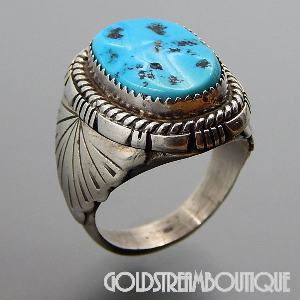 ac1e6769ff01a8 NATIVE AMERICAN VINTAGE NAVAJO STERLING SILVER KINGMAN TURQUOISE OVAL MEN'S  RING SIZE 12.25