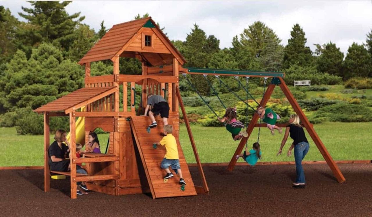Assembly And Installation In 2020 Wooden Swing Set Backyard Adventure Swing Set