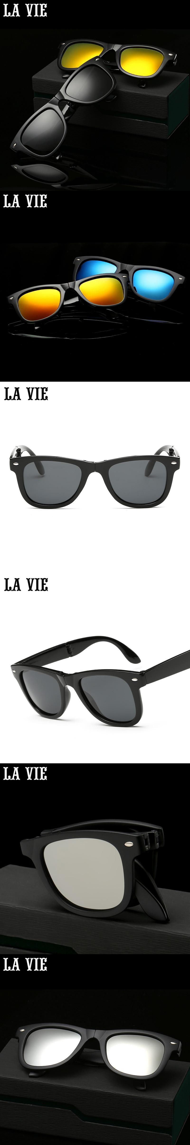 afa452c739 LA VIE Folding Polarized Sunglasses Mirror Coating Sunglasses Driving Sun  Glasses oculos de sol feminino LVF2140