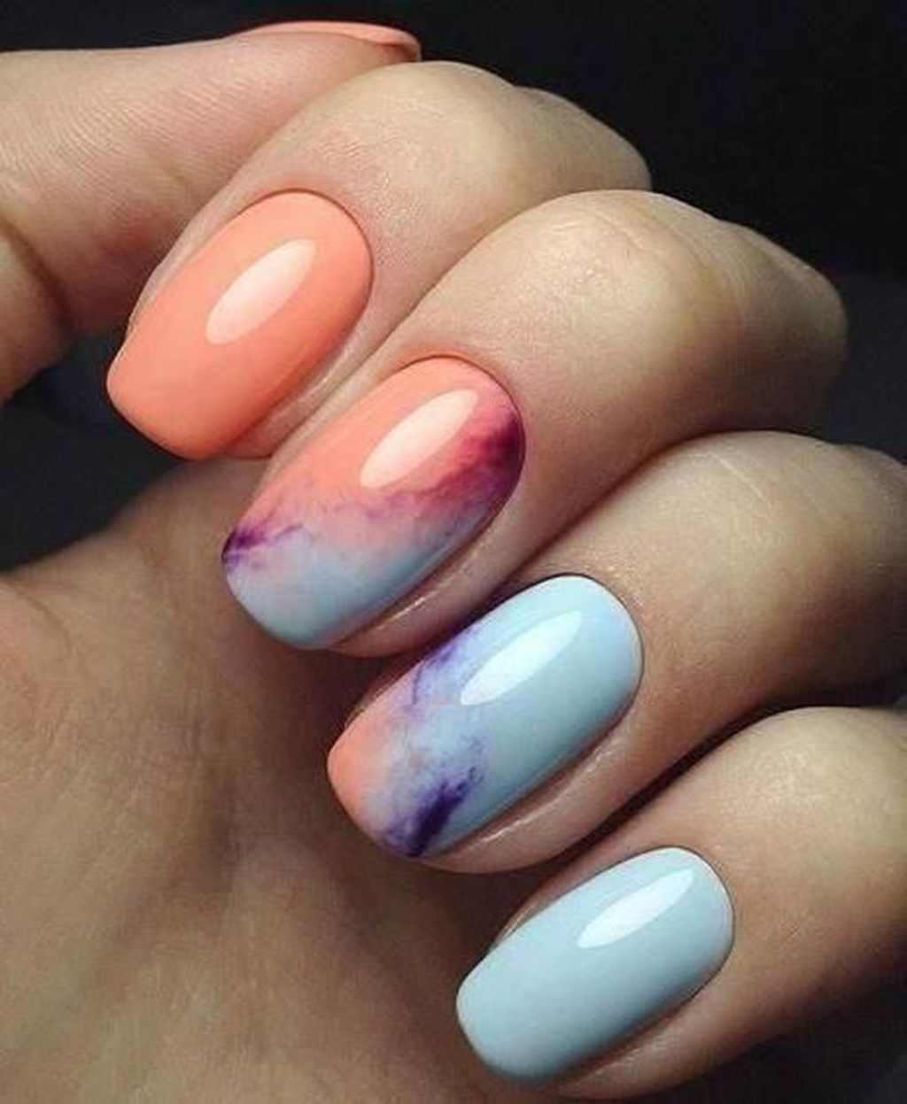 37 Unusual Watercolor Nail Art Ideas That Looks Cool