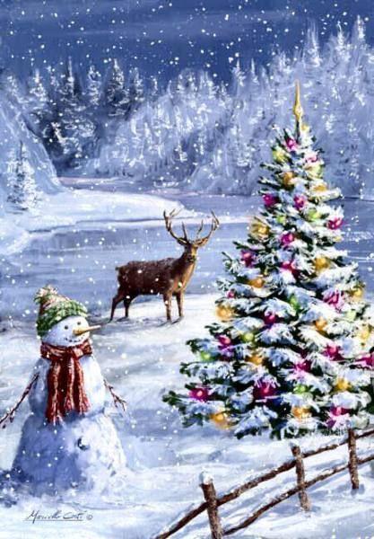 Photo of Christmas mountain scene art snowman deer