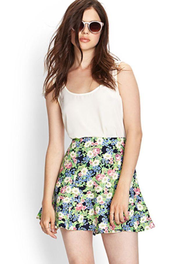 Woven Floral Skater Skirt