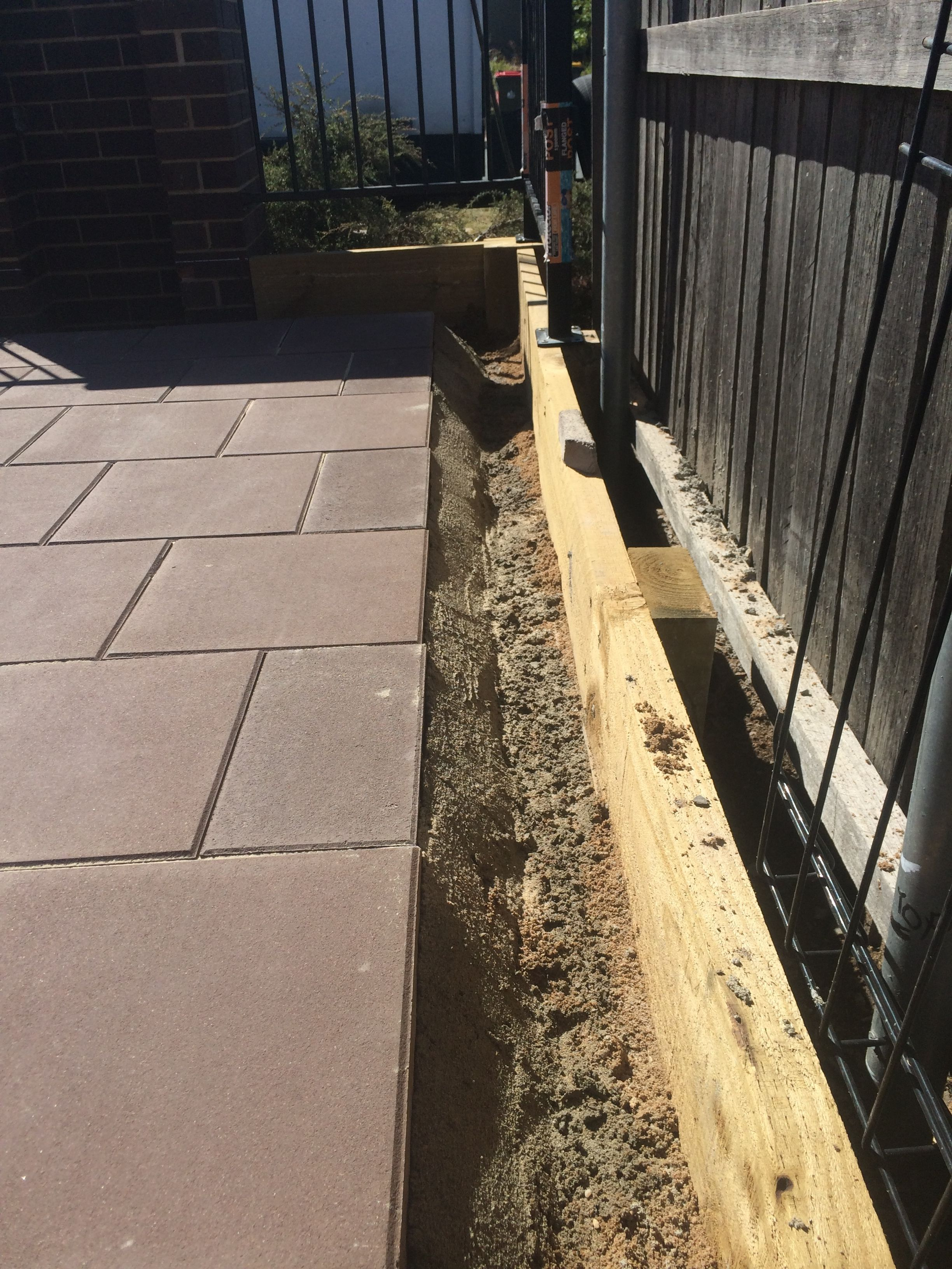 Concrete support for paving Landscaping retaining walls