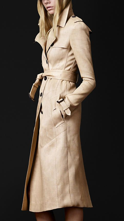 Burberry Woven Raffia Trench Coat.