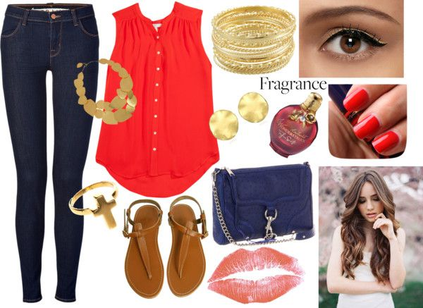 """""""Pretty Casual (reds/golds/blues)"""" by jasmineelm on Polyvore"""
