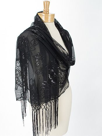 5d63d4b0cb2  p Black fine tulle mesh evening wrap scarf with sequined floral design and  8