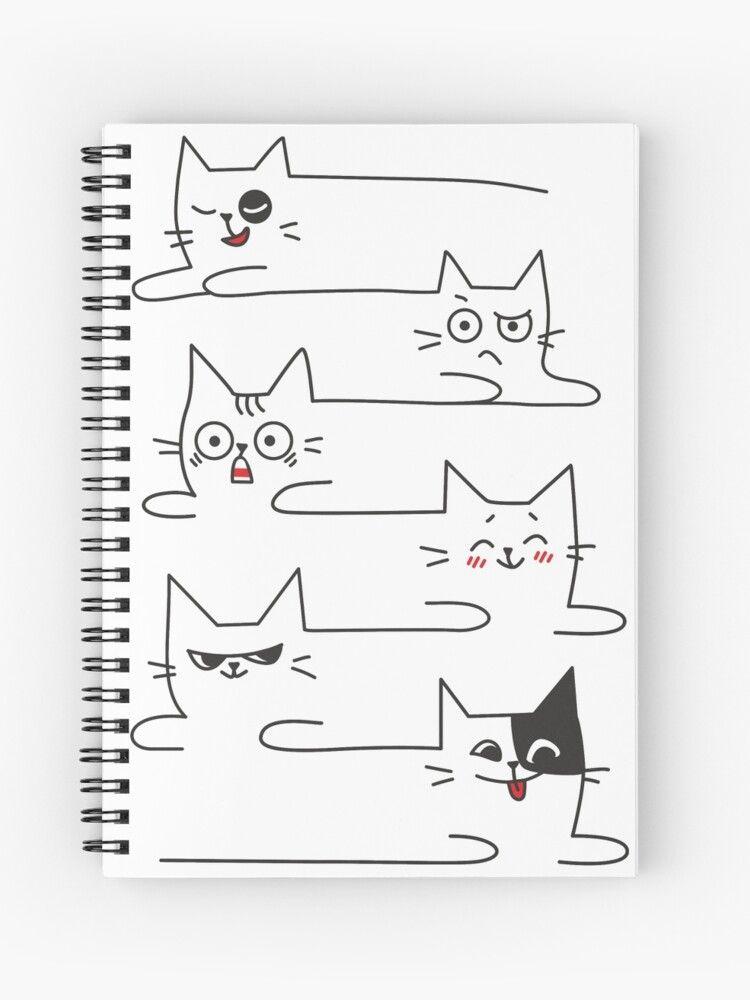 Funny Cats Unlimited Lines Spiral Notebook By Memwear En 2020 Garabatos Divertidos Dibujos Sencillos Ilustracion Divertida