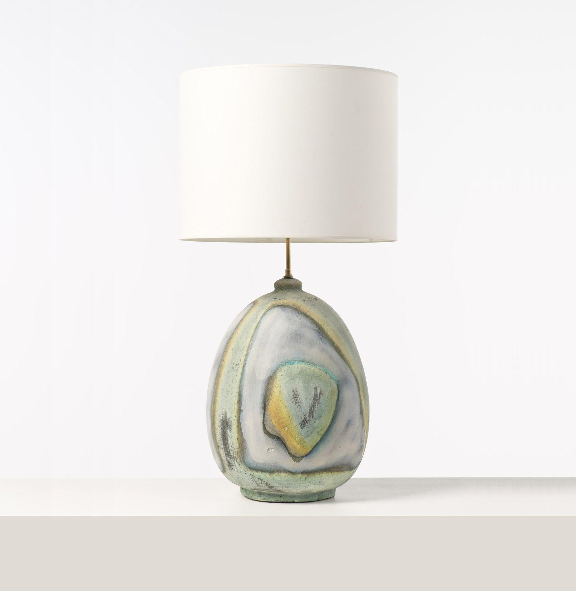 Marcello fantoni glazed ceramic table lamp c1955 for Mini table de nuit