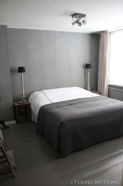 Grijze muur witte gordijnen slaapkamer t Slaapkamer