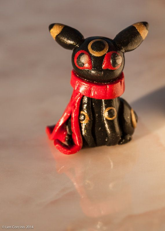 Umbreon with Red Scarf Pokemon Miniature Polymer by UlulaJewelry, $20.00