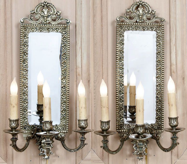 Pair Antique French Louis XIV Bronze Mirrored Sconces | Antique Wall Sconces | Inessa Stewart's Antiques... These are fabulous circa 1870's  wow!