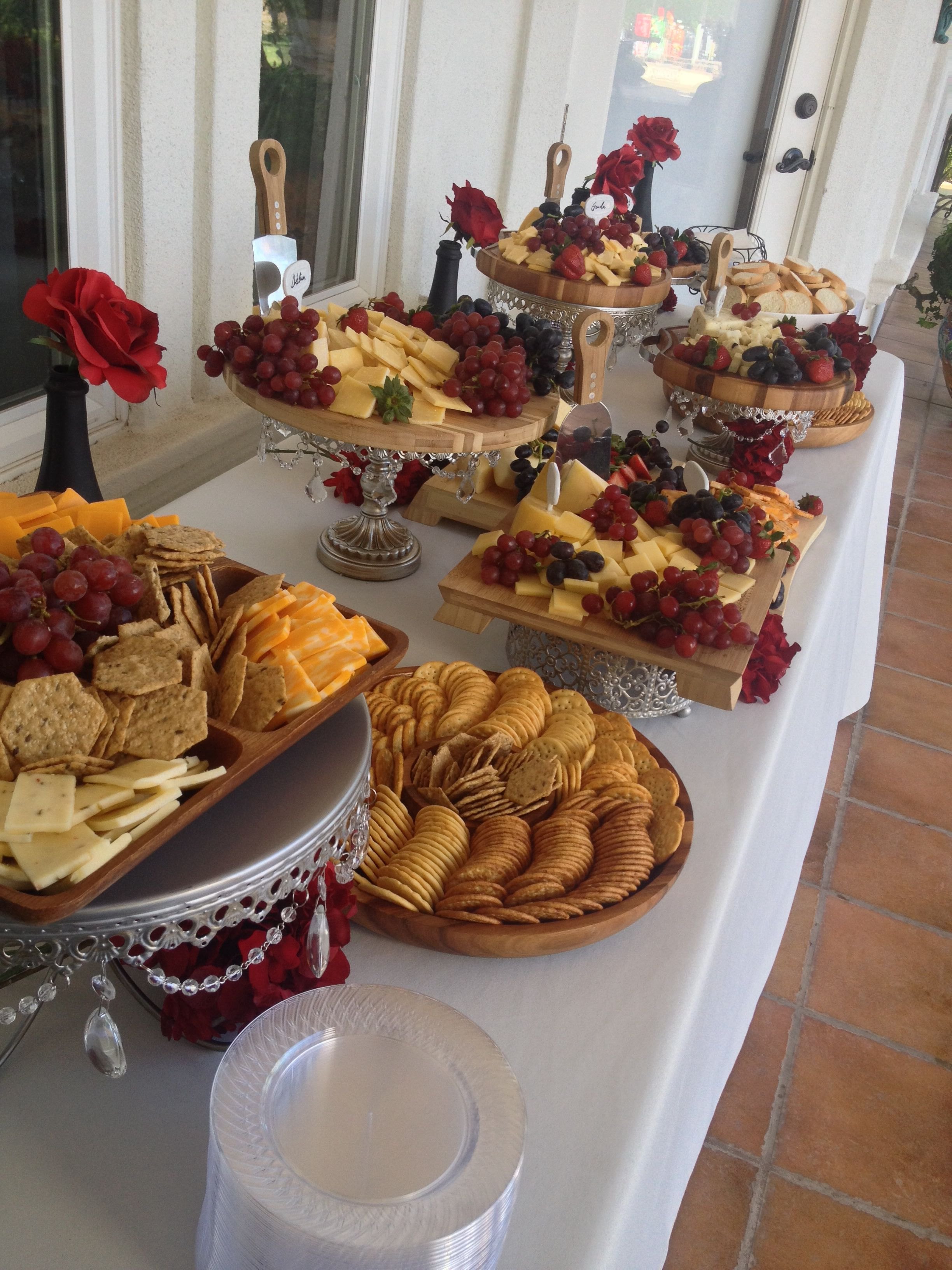 Cheese And Cracker Display Wedding Appetizers Red Flowers