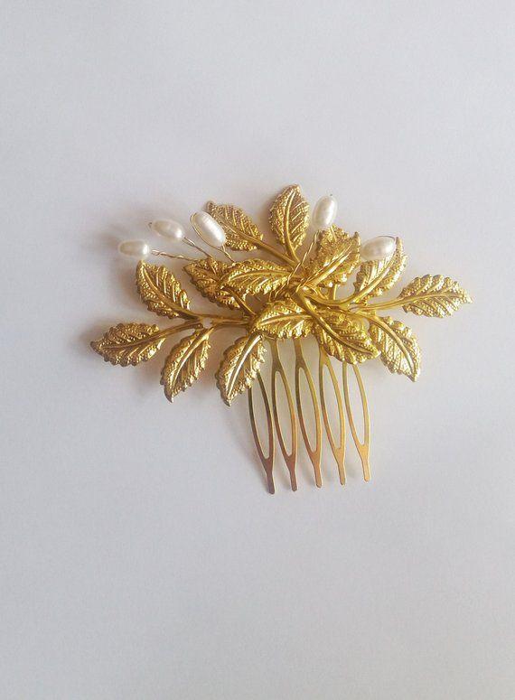 8232c41749 Bridal hair comb gold for Bridesmaid, Wedding Leaf hair accessory ...