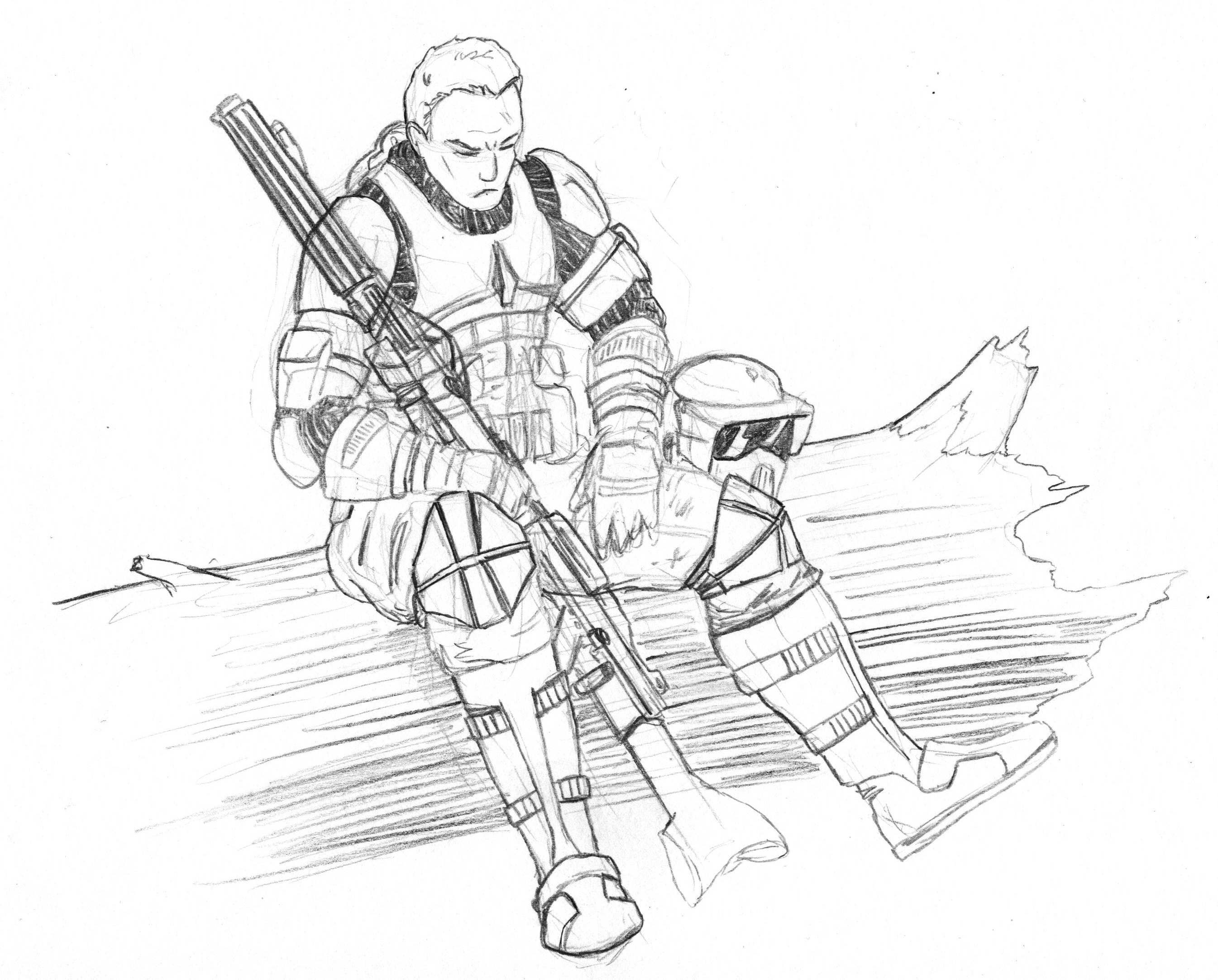 Clone At Rest by Kuk-Man on DeviantArt | LineArt: Star Wars ...