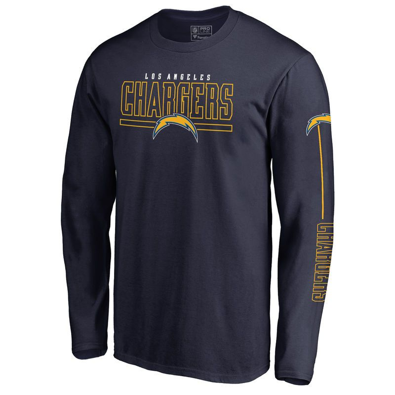 bf99691ab Men s NFL Pro Line by Fanatics Branded Navy Los Angeles Chargers Front Line  Long Sleeve T-Shirt