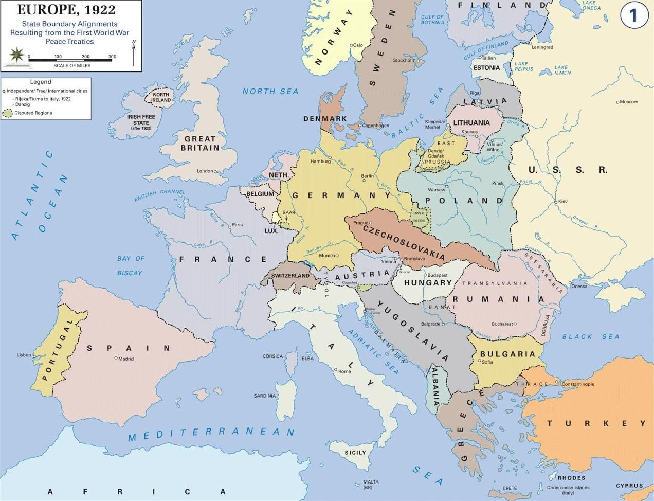 political map of europe in 1922