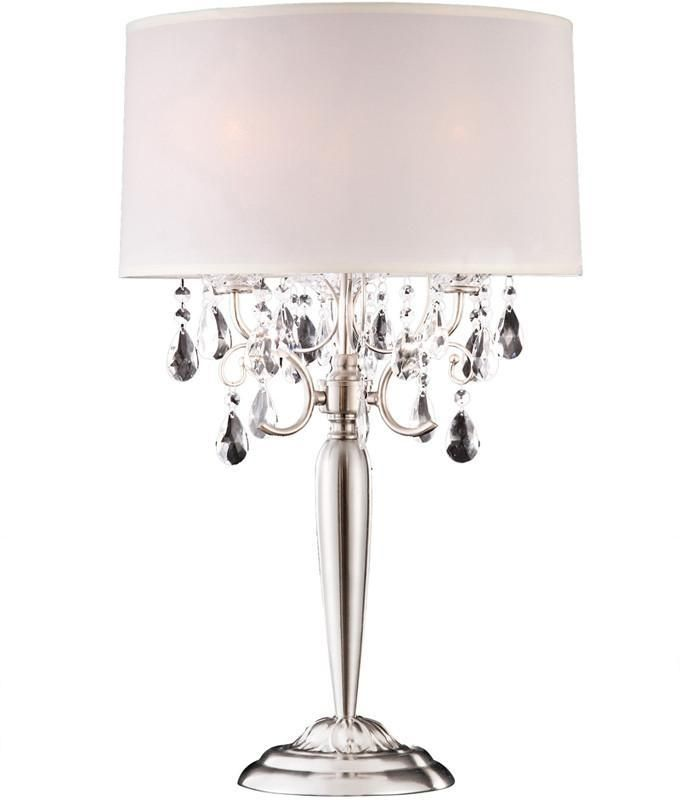 Ok Lighting 5109t Crystal Silver Table Lamp