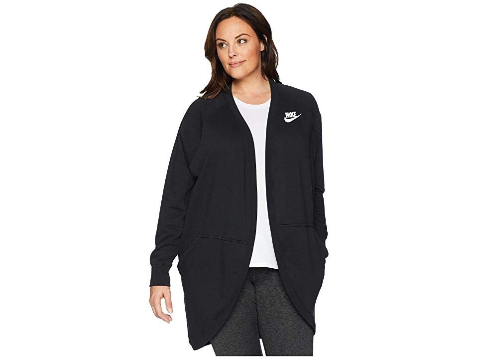 a9d1242277d3 Nike Plus Size Rally Rib Extended Cardigan (Black Black White) Women s  Sweater. Cozy and sporty collide with the Nike Plus Size Rally Rib Extended  Cardigan!