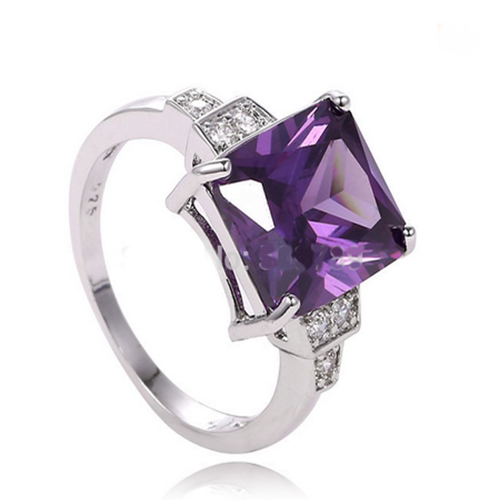Romance Viola - Purple CZ Diamond Silver Ring