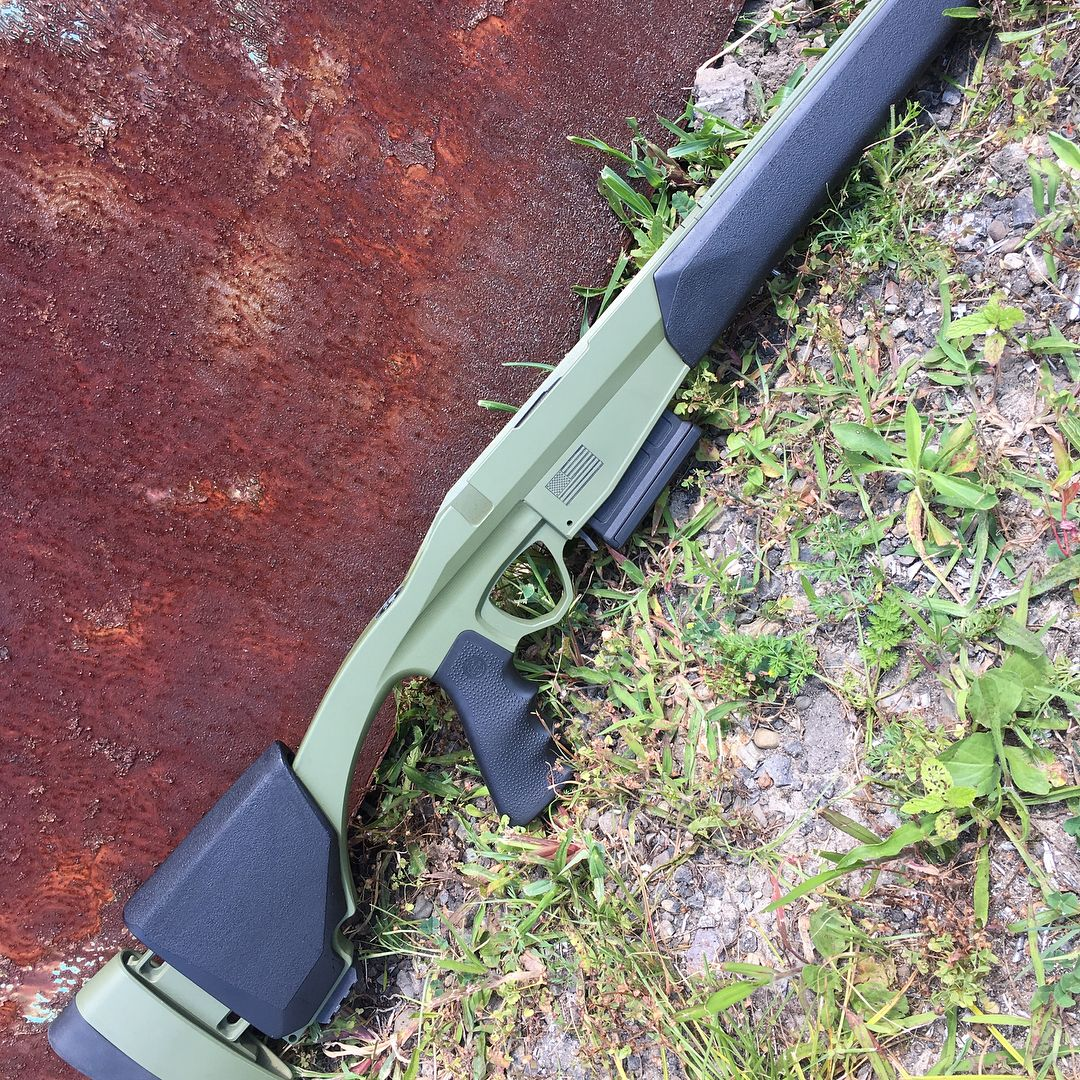 Jolly Roger Gun Stock billet aluminum chassis system in OD Green