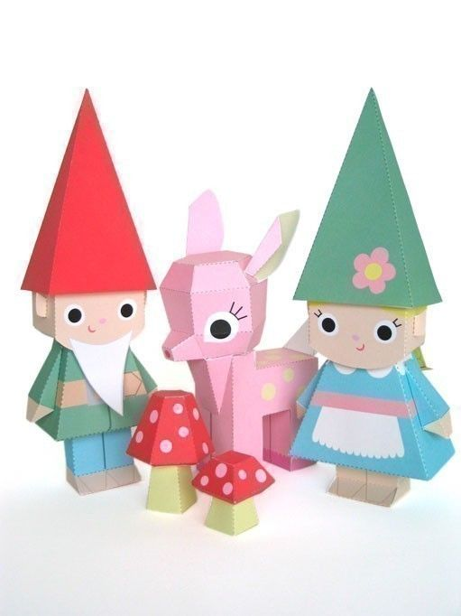 Fawn And Gnome Dolls Printable Paper Craft Pdf Paper Crafting