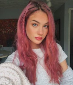 Rich Rose With Braids Hair Color Pink Hair Inspo Color Rose Pink Hair