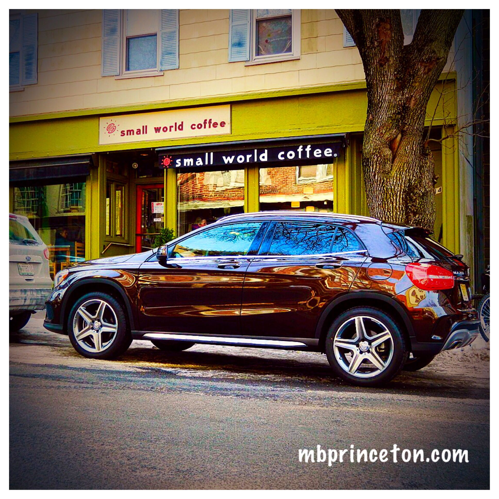 2015 Mercedes-Benz GLA250 in front of Small World Coffee ...