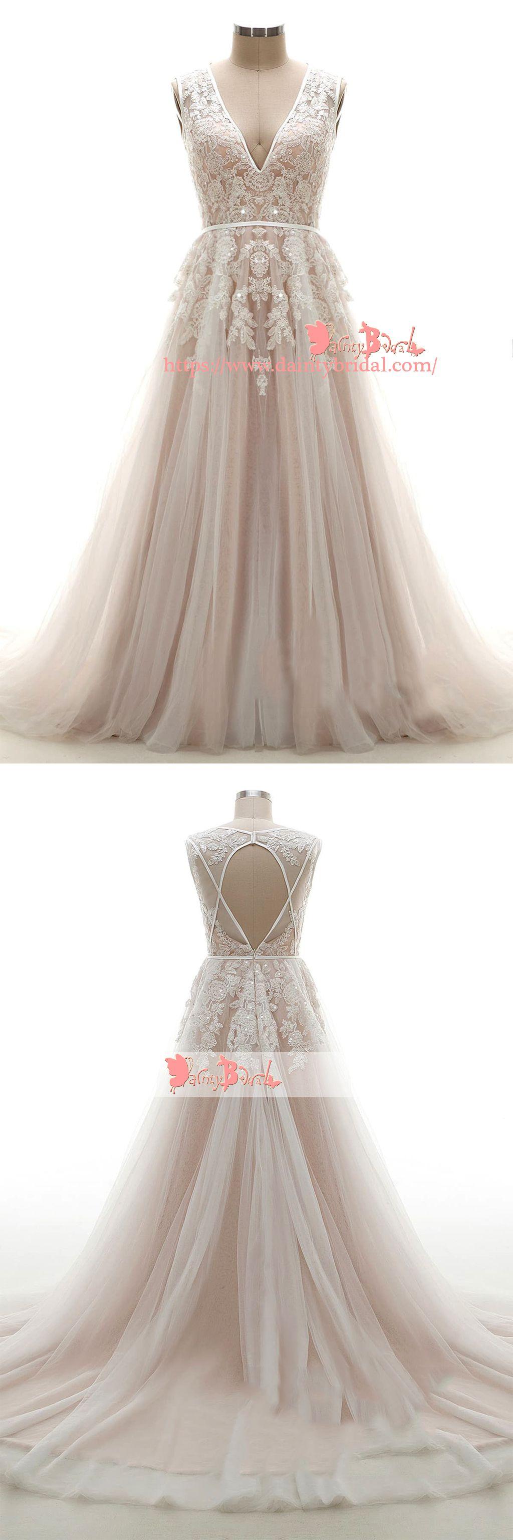 Light nude open back vneck appliques wedding dressesdb