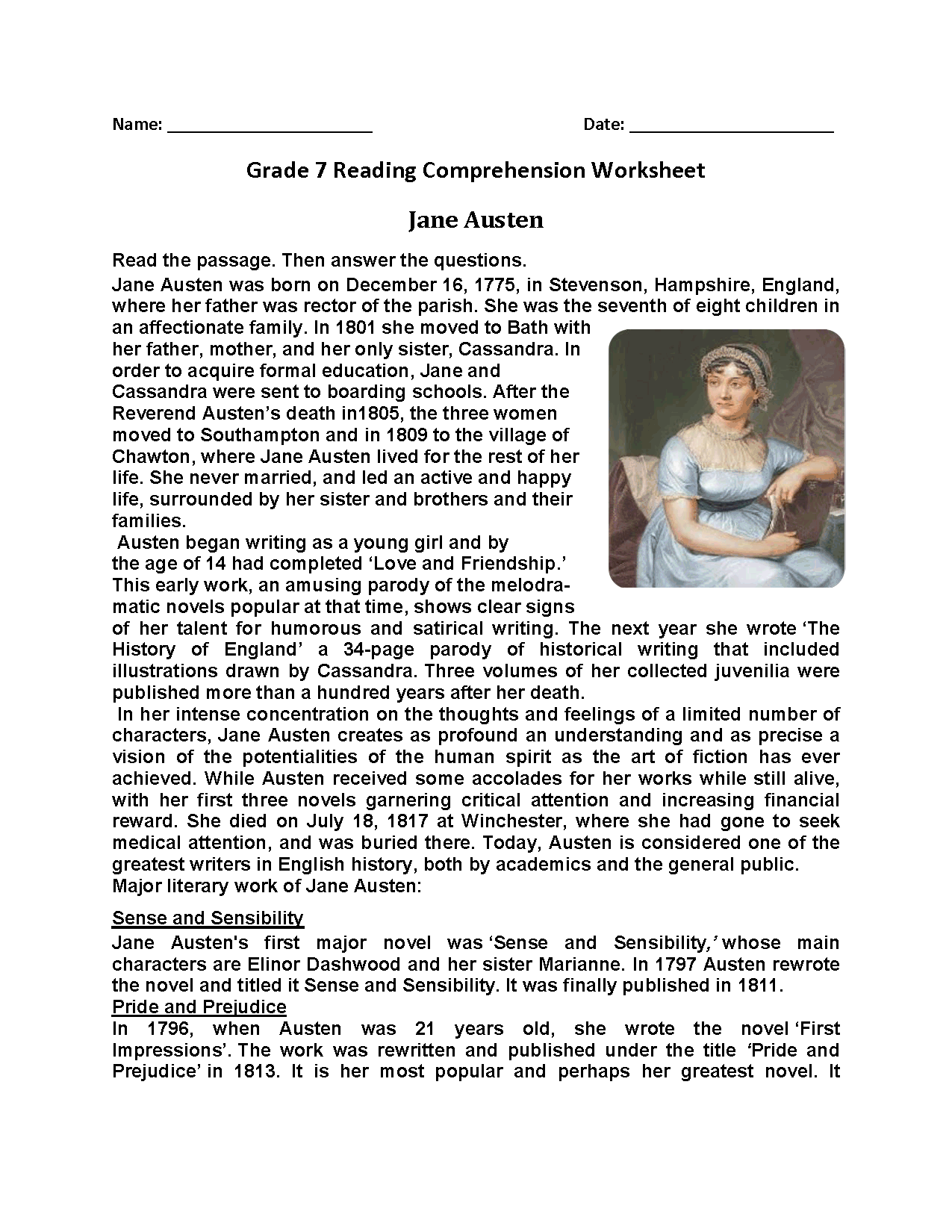 Jane Austen Seventh Grade Reading Worksheets