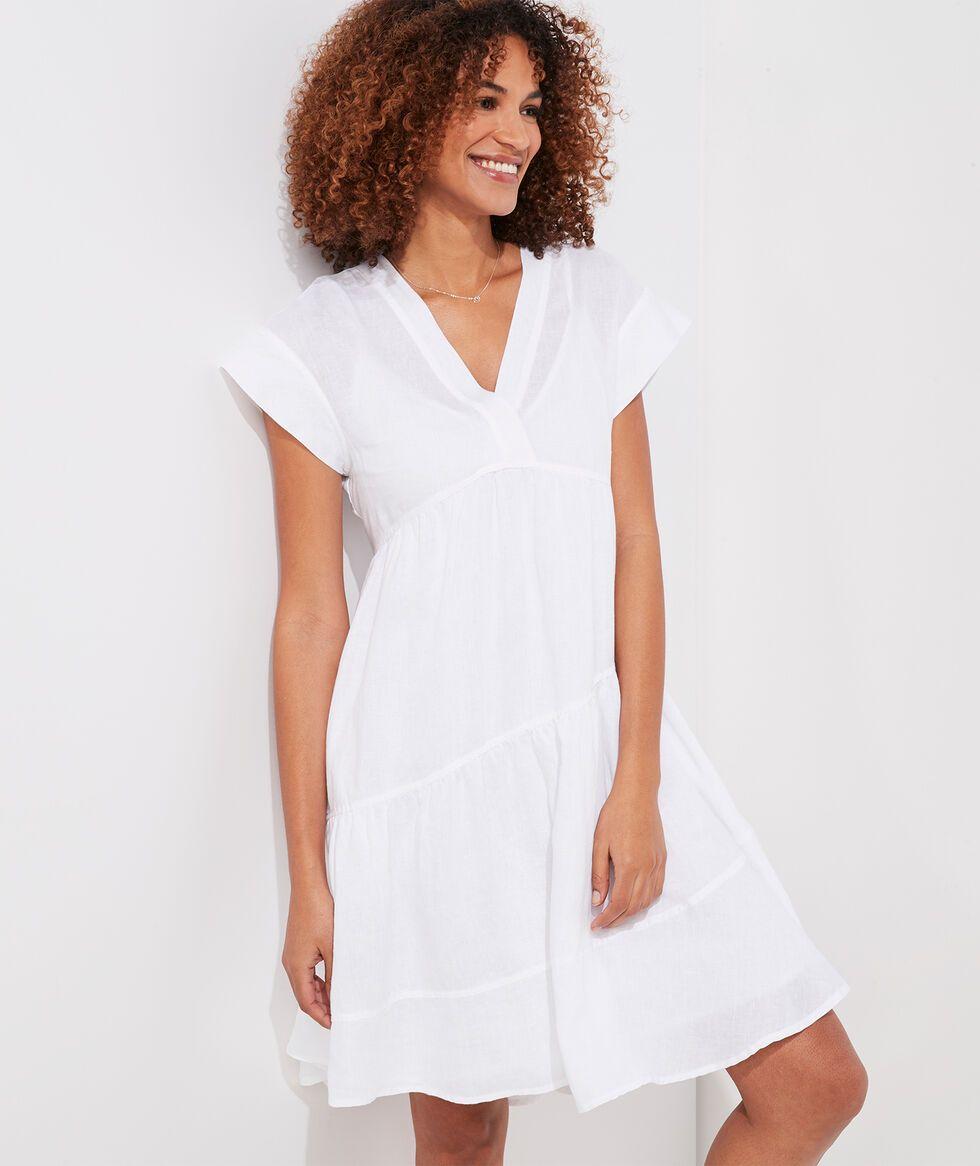 Shop Tiered Linen Swing Dress At Vineyard Vines In 2021 Swing Dress Dresses Womens Dresses [ 1166 x 980 Pixel ]