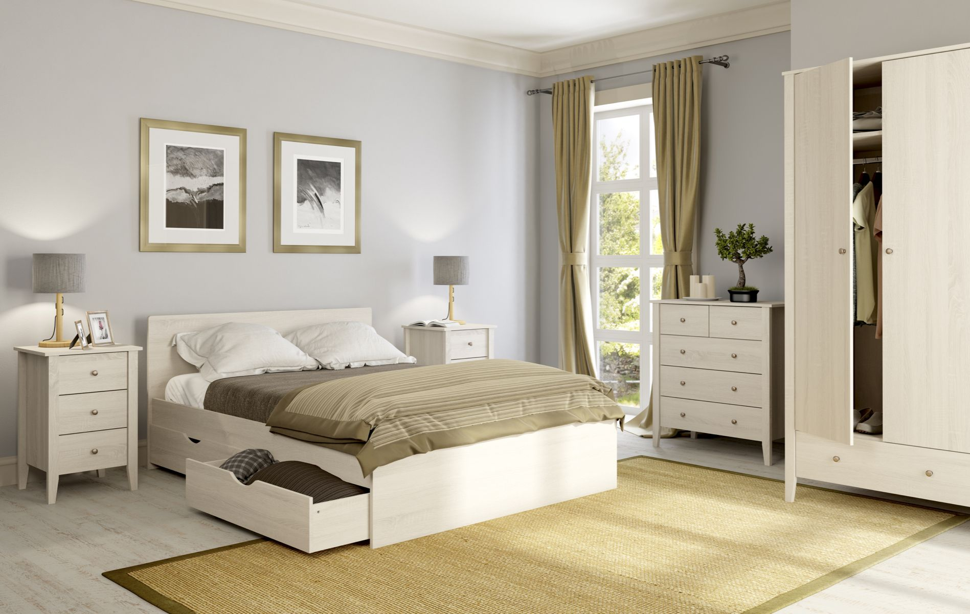 A Bed With Beautiful White Oak Finish And Quality Metal Fixings That Will Bring Natural Relaxed Feel To Your Bedroom