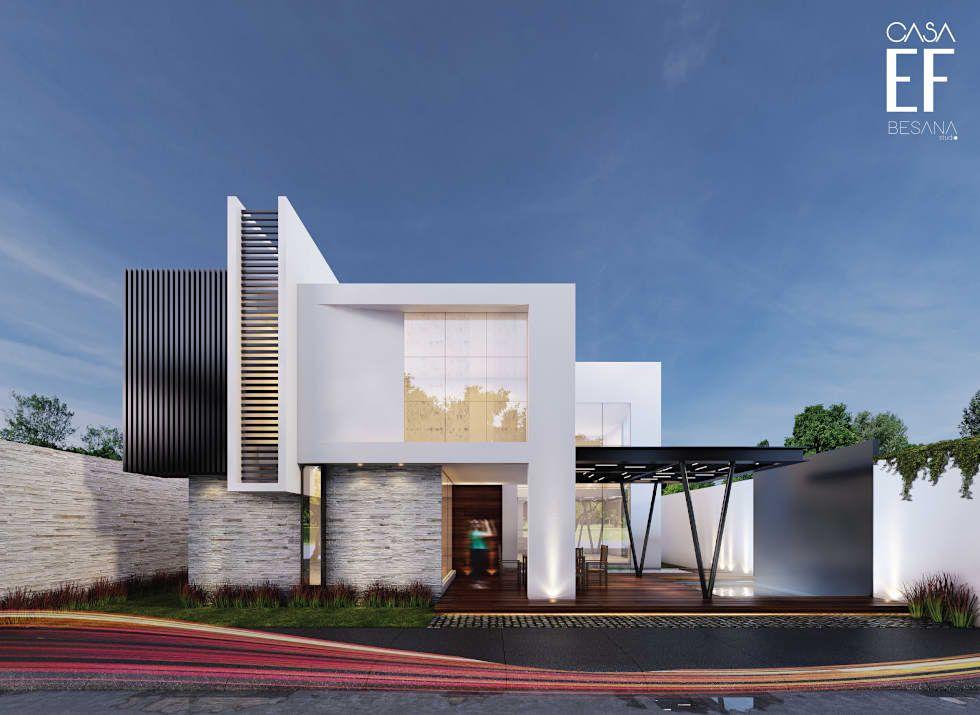 Fachada trasera casas de estilo por besana studio for Casas pequenas estilo minimalista